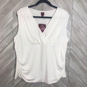 212 Collection White Sleeveless V neck Top Blouse